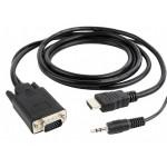 CABLE HDMI (CPU) 3D v1.4 - VGA (PANTALLA) 5m +AUDI