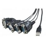 CONVERSOR USB 2.0 A SERIE 9 PINES 4 PUERTOS