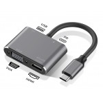 DOCK USB-C 3.1 (M) - MULTIPUERTO 4 EN 1 HDMI+VGA+U