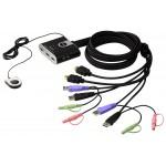 KVM SWITCH COMPACTO 2X1 HDMI + USB + AUDIO 1080P